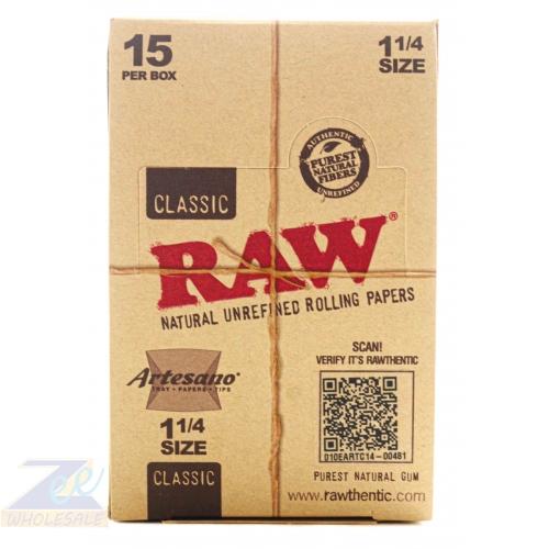 RAW CLASSIC ARTESANO 1 1/4 PAPER 15 PER BOX